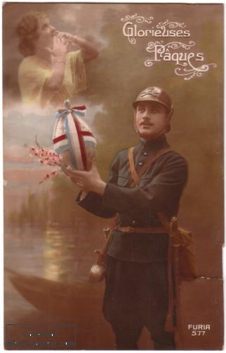Carte postale ancienne de poilu de la guerre 14-18 pour Paques.