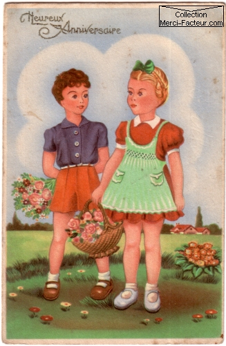 Carte postale ancienne d'anniversaire