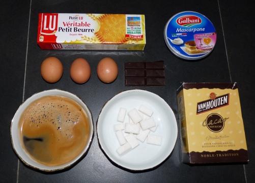 ingredients de la recette tiramisu petits beurre LU, oeuf Mascarpone, cacao, sucre