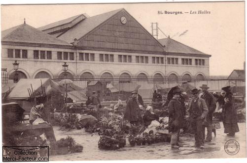 carte postale ancienne du marché de Bourges