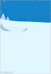 papier a lettre bleu avec sapin et neige pour �crire au p�re noel