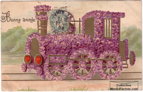 Locomotice fleuri de train pour carte de voeux anciennne