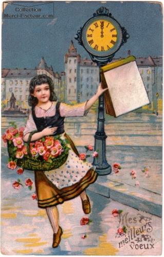 Carte postale avec vendeuse de rose dans la rue, il est minuit, et elle vous souhaite ses meilleurs voeux.