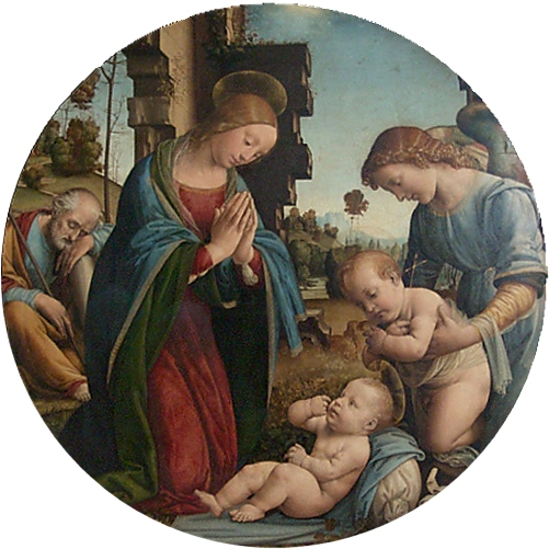 Tableau de Lorenzo di Credi pour illustrer une carte de Noel