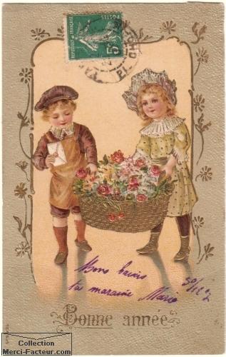 carte de voeux ancienne avec enfants et panier de fleurs
