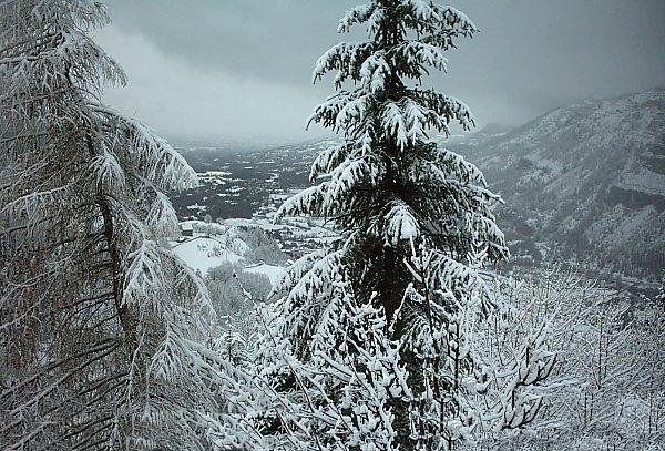 paysage de neige pour le fond de la carte saint valentin