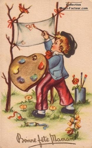 Peintre du dimanche pour une carte fete des meres qui peint des petits coeurs