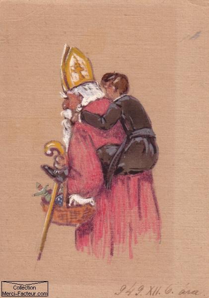 Peinture originale de SAINT NICOLAS et cartes saint ...