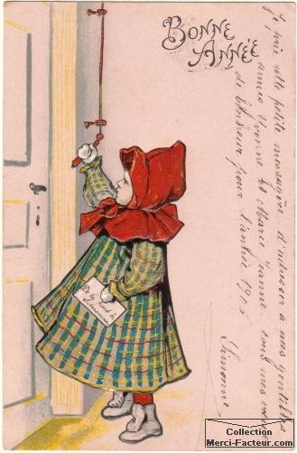Dessin du petit chaperon rouge tirant la chevillette sur cette jolie carte de voeux ancienne