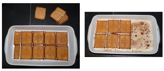 Recette Tiramisu : placer les petits beurres dans un plat et les recouvrir du mélange au Mascarpone