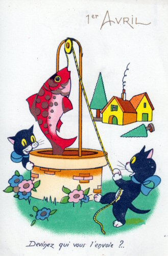 carte postale ancienne de chat et de poisson du 1er Avril