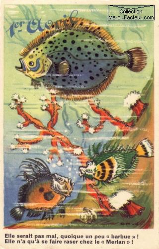 Carte postale ancienne du 1er Avril avec poissons humour