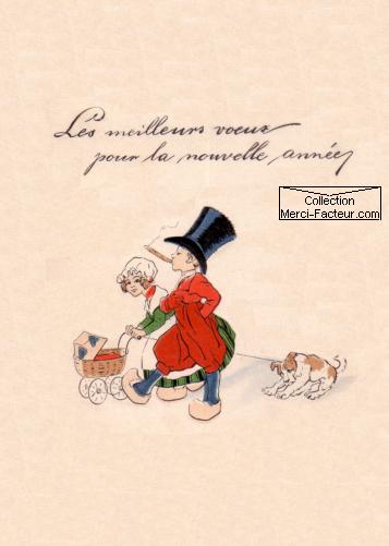 La promenade d'une petite famille sur carte de voeux dessin ancien