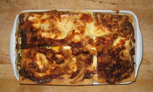 Les lasagnes petits poids champignons