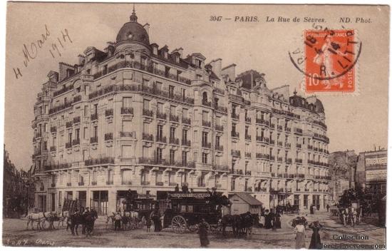Paris, ville des chevaux et des carioles rue de S趲es