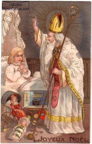Saint Nicolas sur carte postale ancienne pour Noel