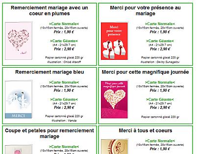 selection d'une carte de remerciement de mariage