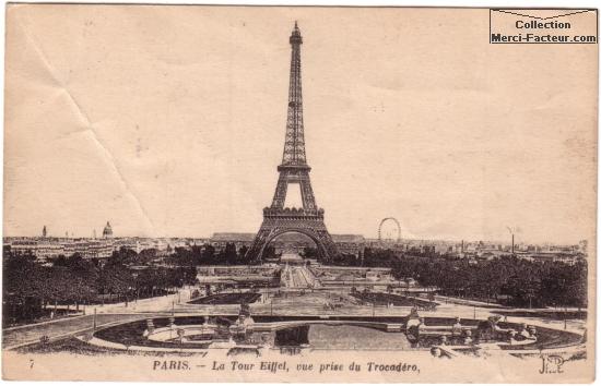 carte postale ancienne de la Tour Eifffel vue depuis le Trocad鲯.