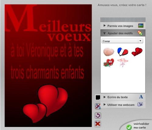 Vue du module de personnalisation pour un coeur sur carte voeux