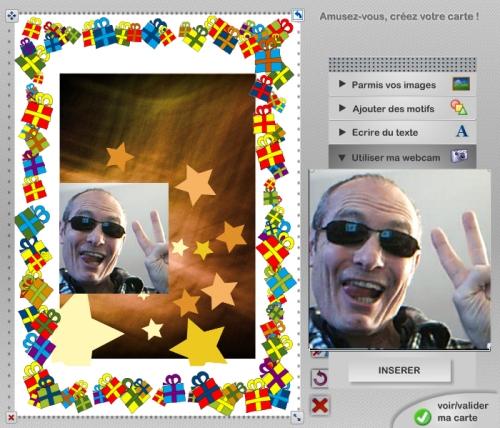 Ajouter une photographie sur la carte de voeux avec un webcam