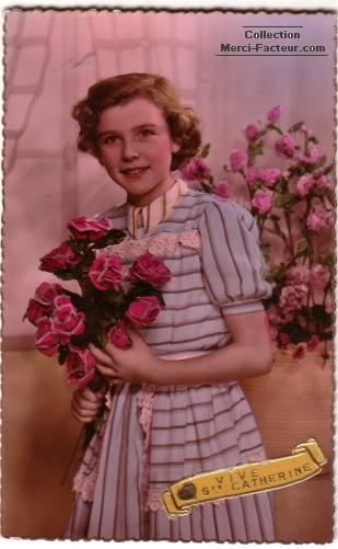 Vive sainte catherine avec bouquets de rose ancienne