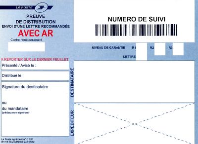 exemples de modèles: Envoi Lettre Recommandee Avec Ar