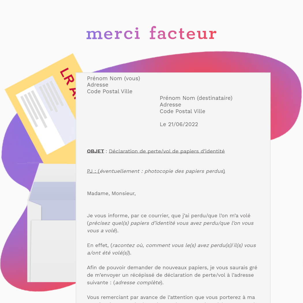 lettre de déclaration de perte/vol de papiers d'identité en LRAR