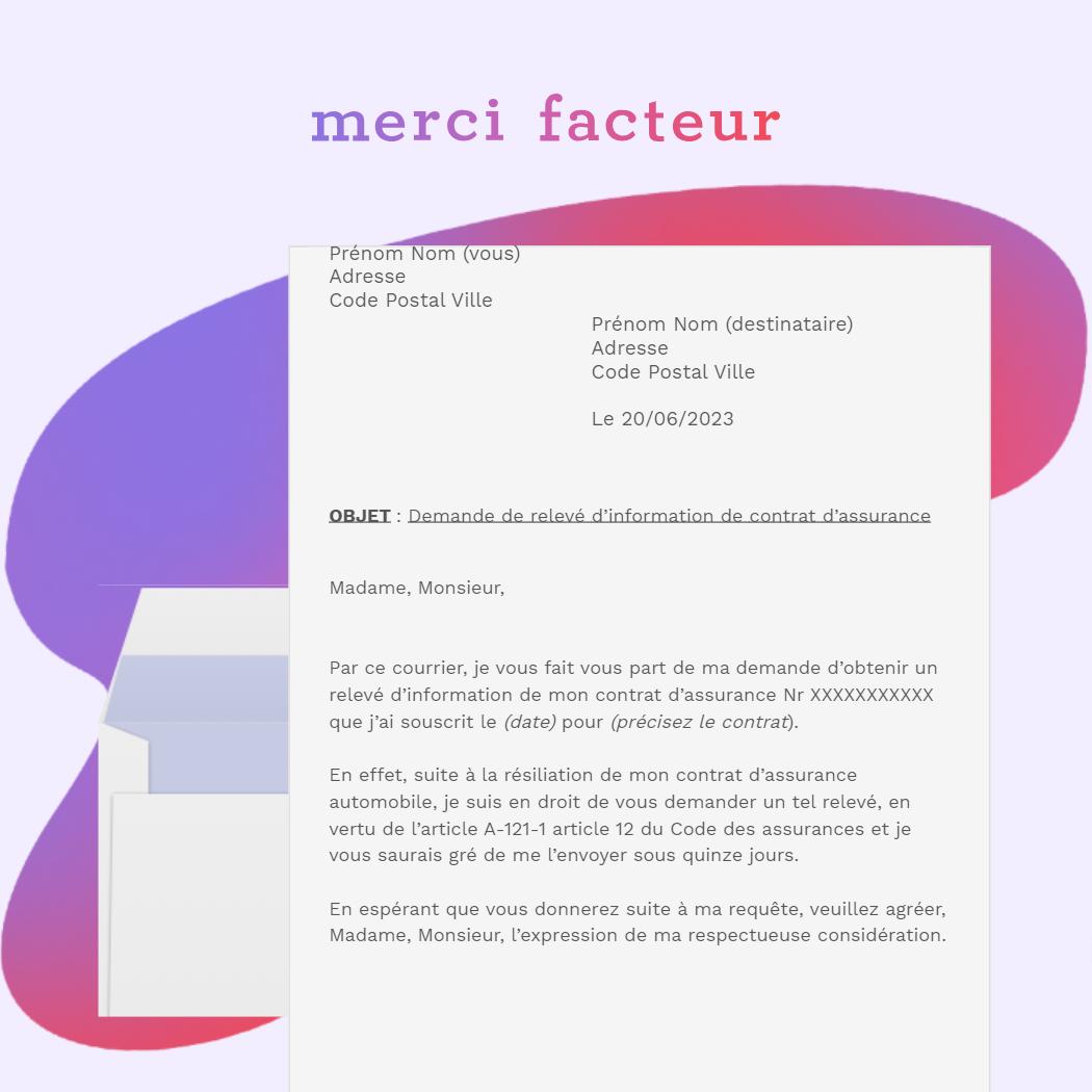 lettre de demande de relevé d'information de contrat d'assurance