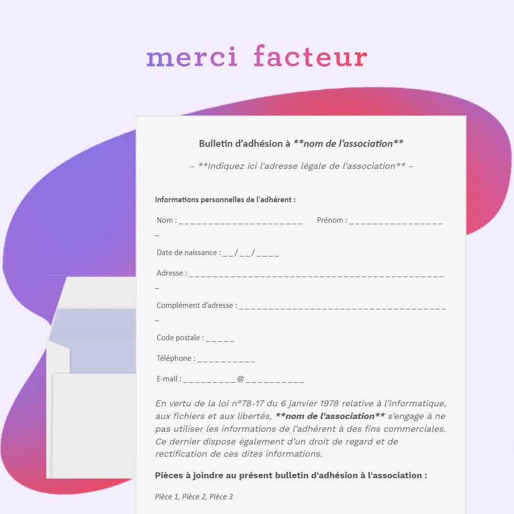 bulletin d'adhésion à une association
