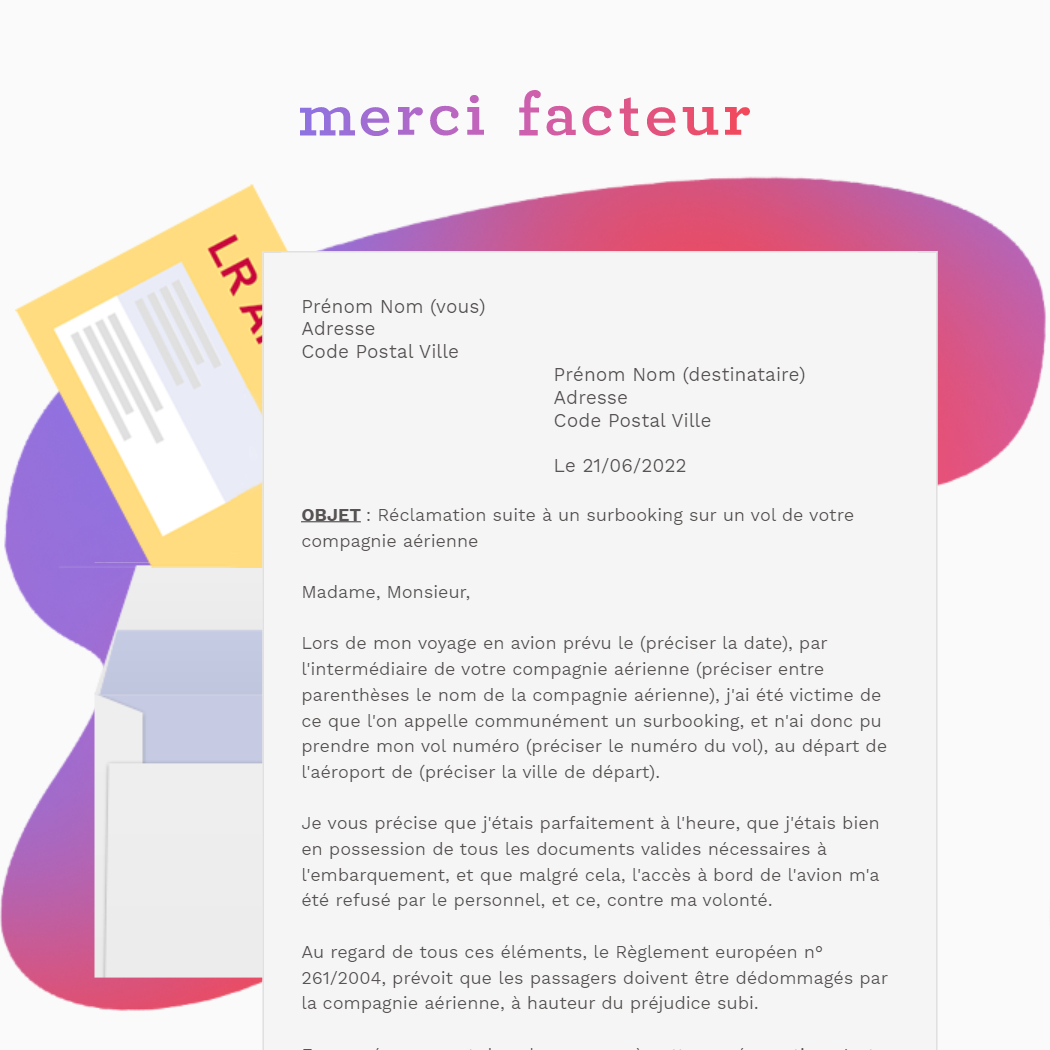 lettre de réclamation pour une indemnisation en cas de surbooking en LRAR