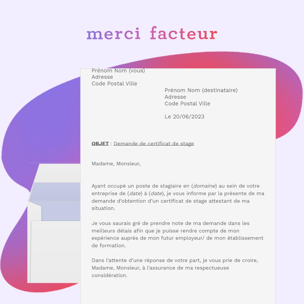lettre de demande de certificat de stage