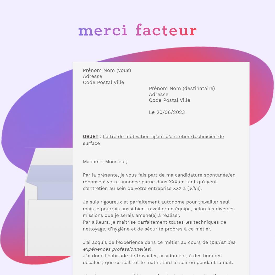 lettre de motivation agent d'entretien/technicien de surface
