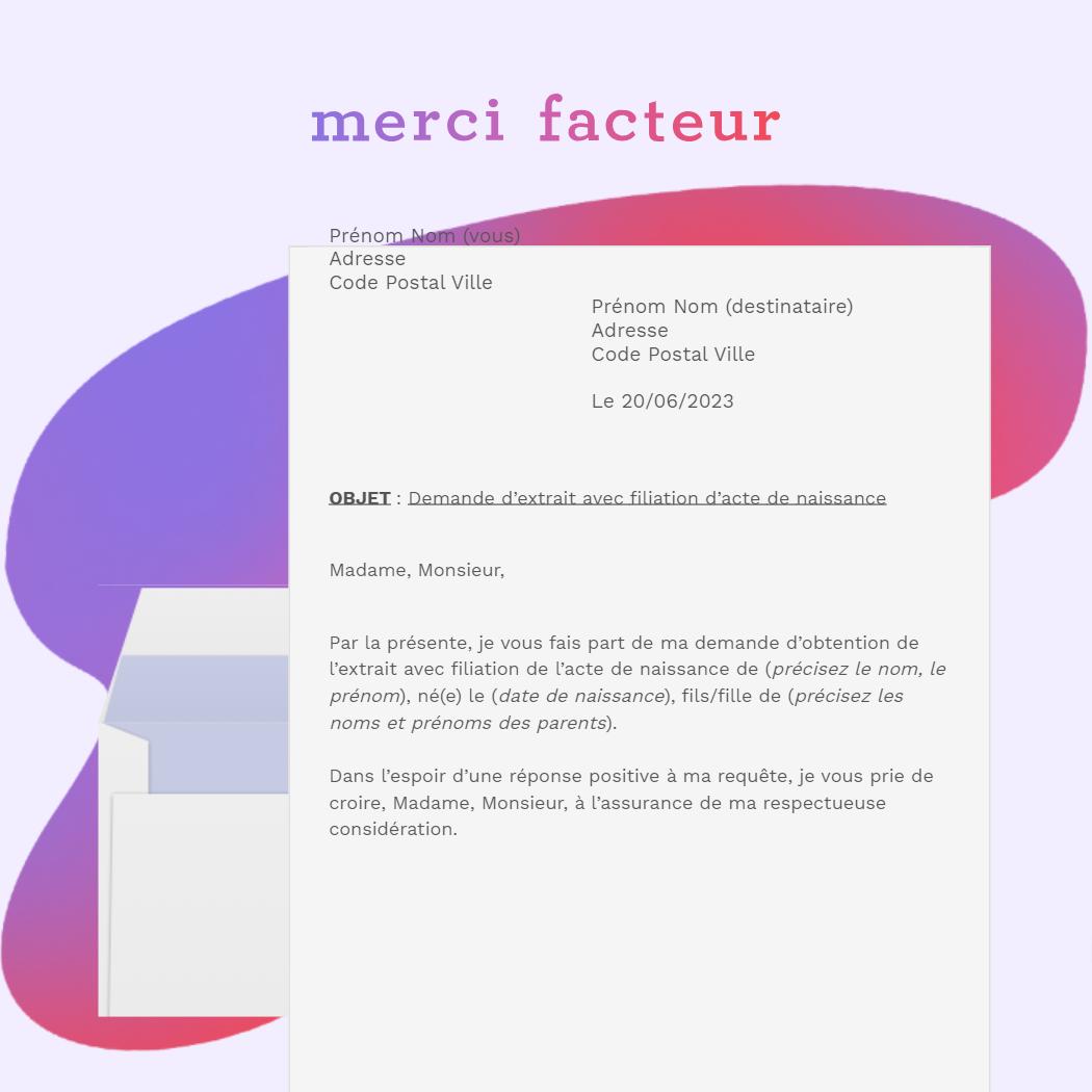 lettre de demande d'extrait avec filiation d'acte de naissance