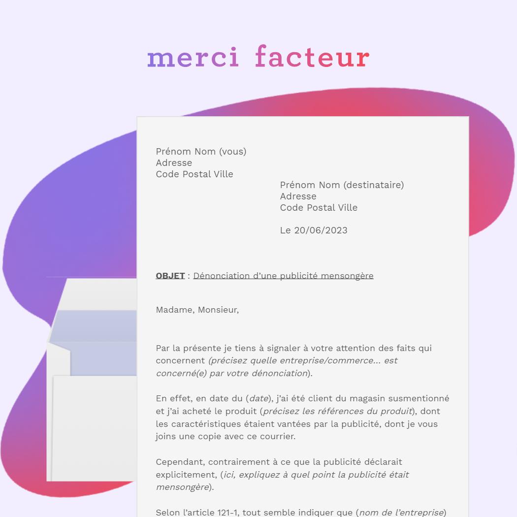 lettre de dénonciation d'une publicité mensongère auprès de la dgccrf