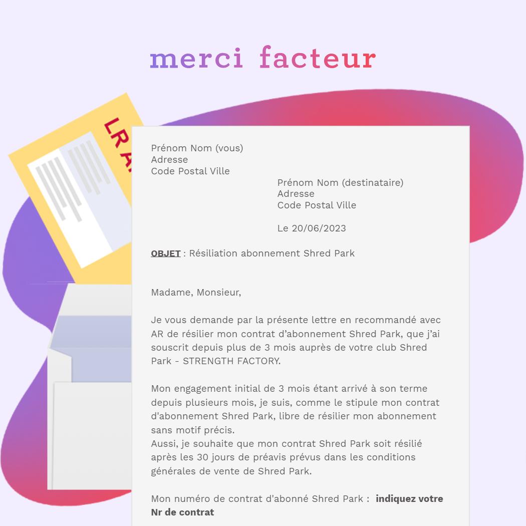 résiliation abonnementshred park - strength factory montigny le bretonneux en LRAR